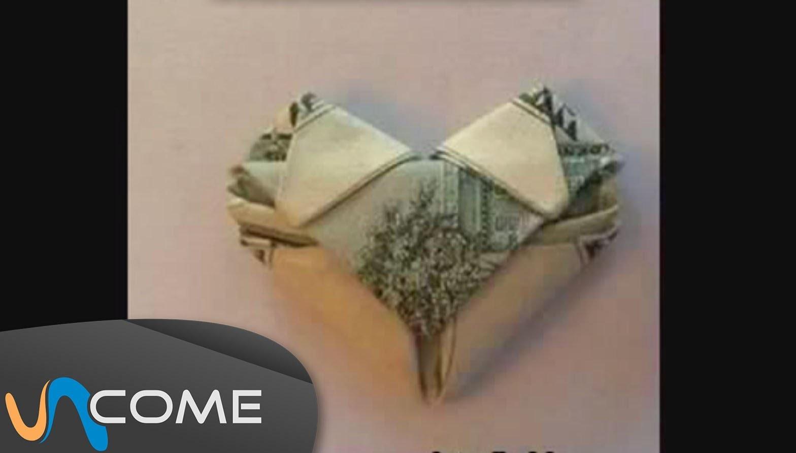 Creare un origami a forma di cuore con una banconota!