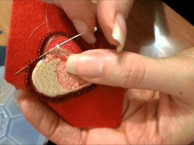 DIY tutorial cuore giallo rosso incastonato embroidery colori pebeo prisme feltro
