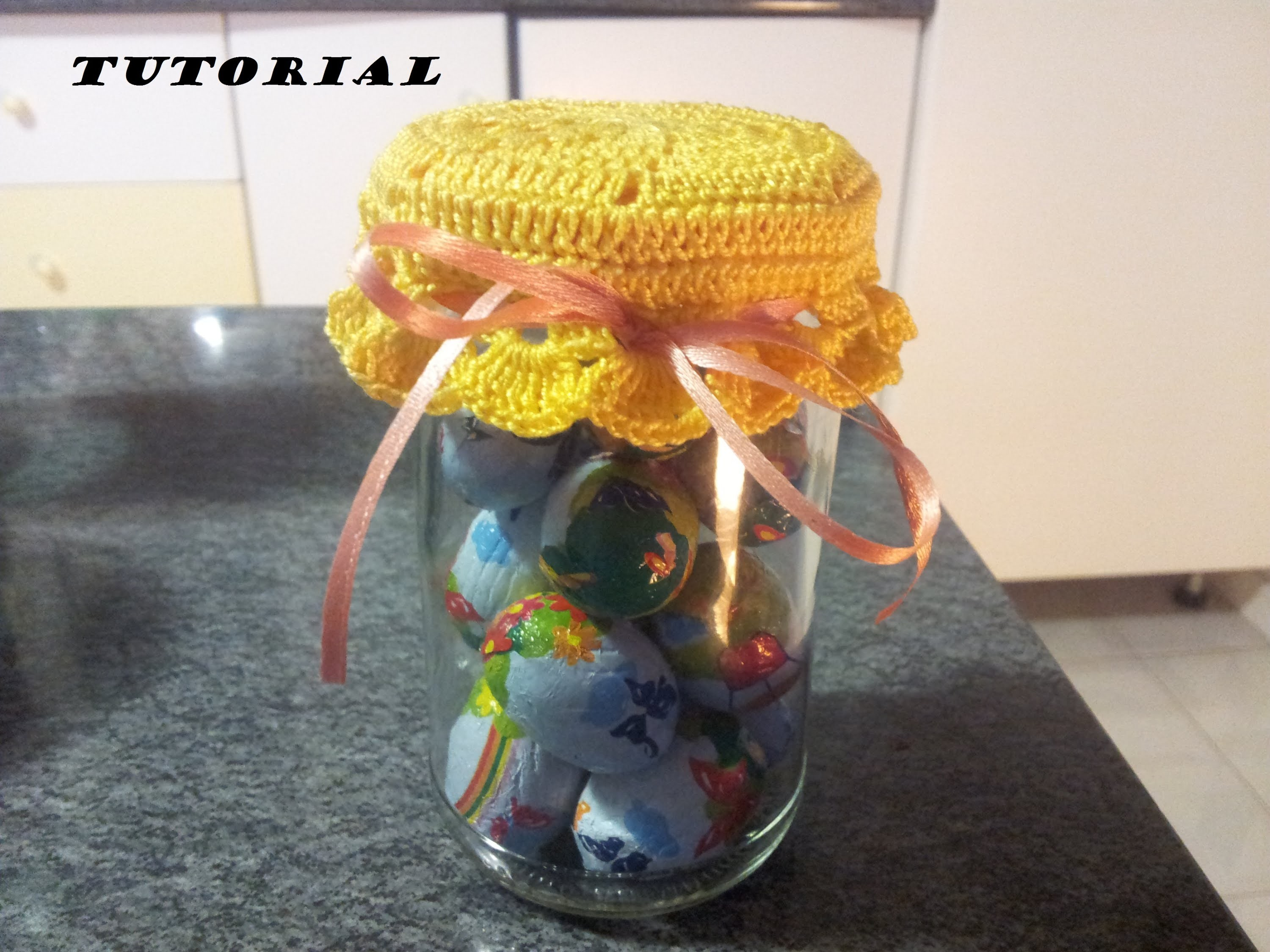 DIY TUTORIAL uncinetto: copri tappo per barattolo how to CROCHET JAR CAP