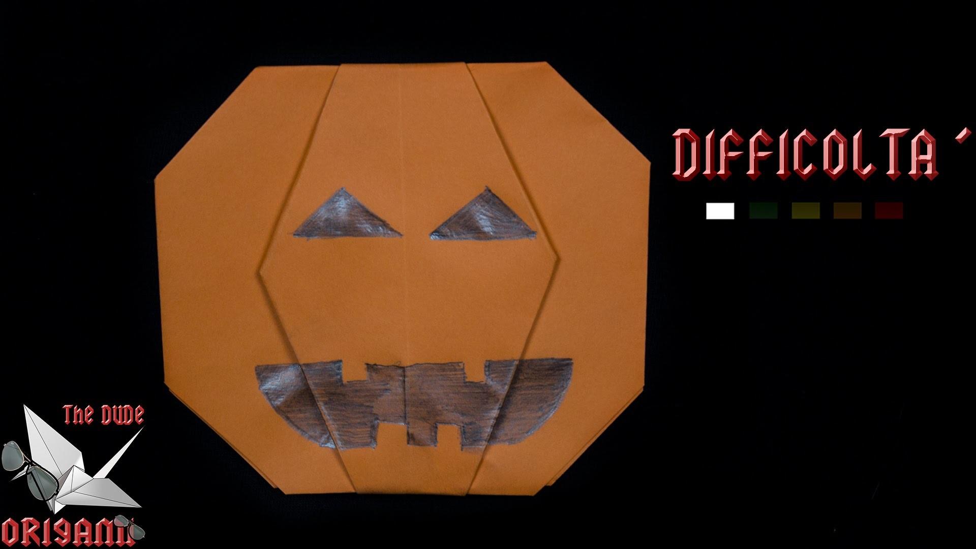 [ORIGAMI ITA] Zucca Di Halloween (Jack O' Lantern) || Origami di Halloween.Facili