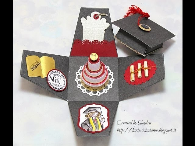 Scrapbooking tutorial:Explosion box laurea.Graduation box-Come riutilizzare i tappi di plastica