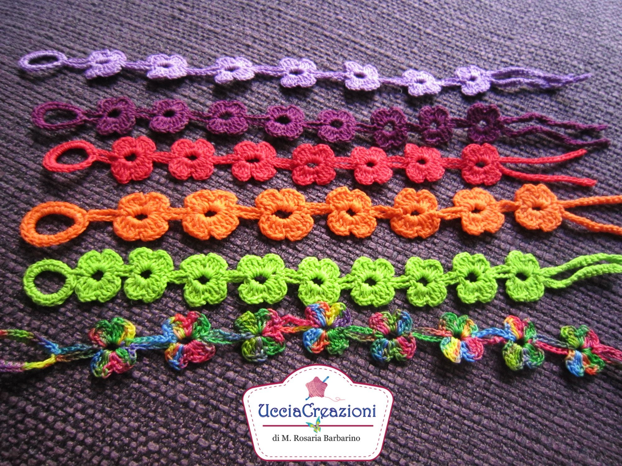 Tutorial 6. * Bracciali Fiore * Simil - Cruciani . How to Flower Crochet Bracelets