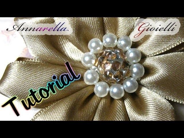 Tutorial | Fiore centrale con perle per kanzashi | beads flower