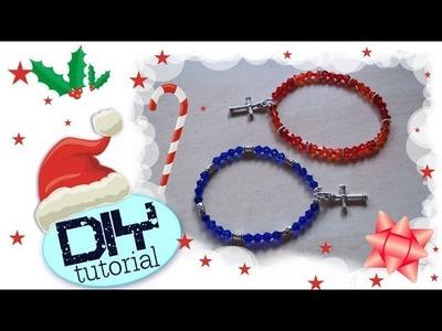 Tutorial Idee Regalo Natalizie: Bracciale semplice con filo elastico ☃ DIY Christmas Gift Ideas❅
