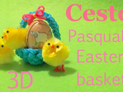 3D CESTINO PASQUALE SENZA TELAIO con nuova tecnica elastici RAINBOWLOOM easter basket hook only