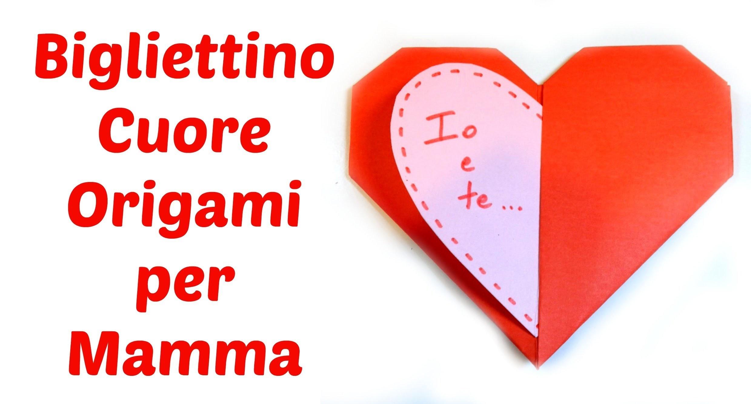 Bigliettino Cuor di Origami per la Festa della Mamma. Mother's day Origami Heart Card -Arte per Te