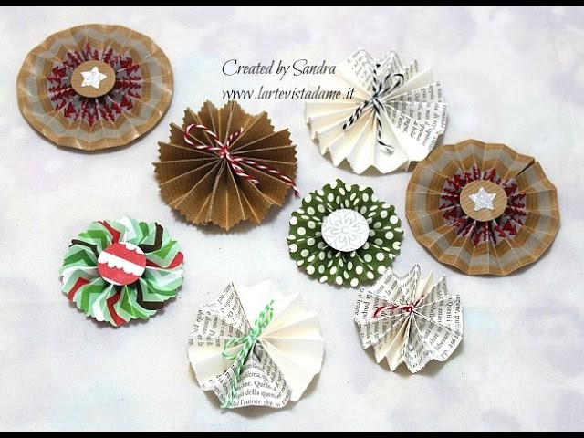 Coccarde di carta Tutorial- Paper Rosettes-Scrapbooking Tutorial-Christmas Packaging