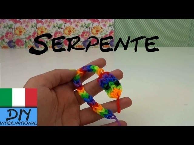 Rainbow Loom Serpente Charm italiano DIY - Loom bands snake Tutorial con telaio