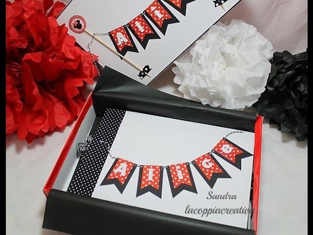 Scrapbooking Mini album in scatola per compleanno a tema Minnie-Handmade-DIY-Mini album baby