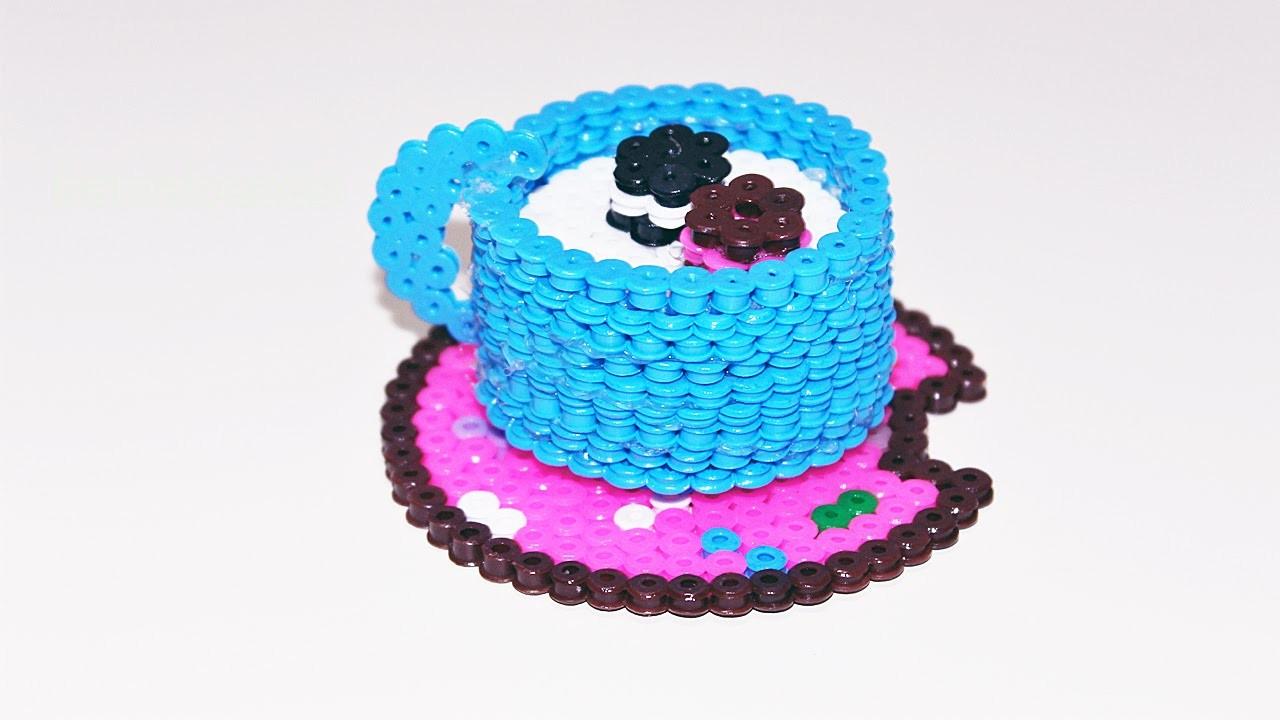 Tazzina 3D Pyssla. Hama Beads -Taza de leche.café PerlerBeads ❤