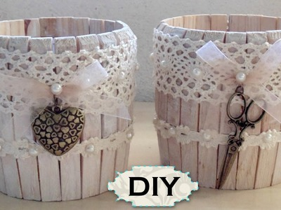 Tutorial: Barattolo in Legno Shabby Chic |Riciclo Creativo con Mollette e Barattoli| DIY Jar Wooden