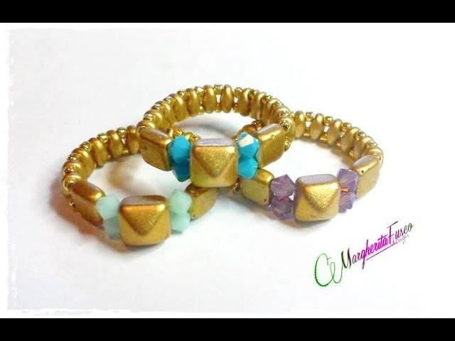 Tutorial con perline per principianti, anello colorato. DIY ring