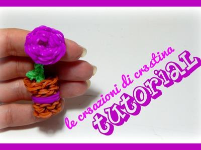 Tutorial Fiore.Rosa nel Vaso con Elastici RAINBOW LOOM - DIY Festa della Mamma