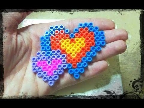 Tutorial Pyssla * Cuori incrociati * idea decorazione San Valentino - Heart Hama Beads DIY