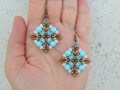 """DIY Turorial Orecchini """" Semplice Sai. """" twin beads cipollotti perline Swarovski Beading"""