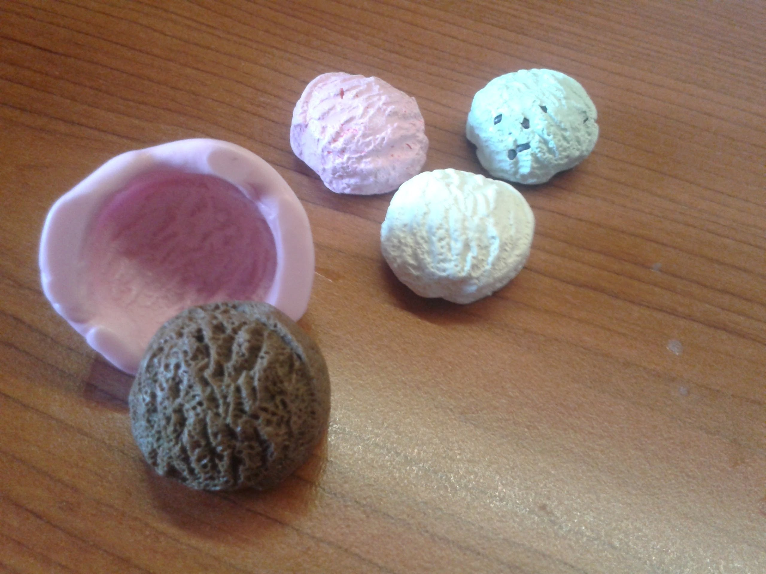 DIY: Tutorial Polymer clay Ice-Cream balls + stampo.mold