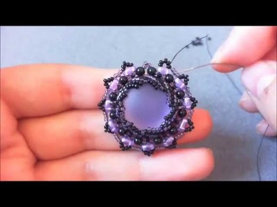 DIY-Tutorial Purple Sun- Parure Peyote- Incastonatura a spirale