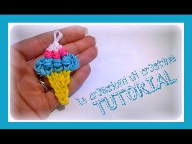 Tutorial Cono Gelato Grande con Elastici RAINBOW LOOM - DIY Ice Cream Charm