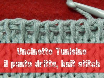 Uncinetto tunisino - Punto dritto | knit stitch