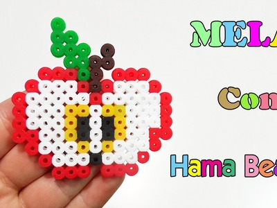 ✿ Charm Mela con Pyssla - Hama Beads. Apple Perler Beads Tutorial✿