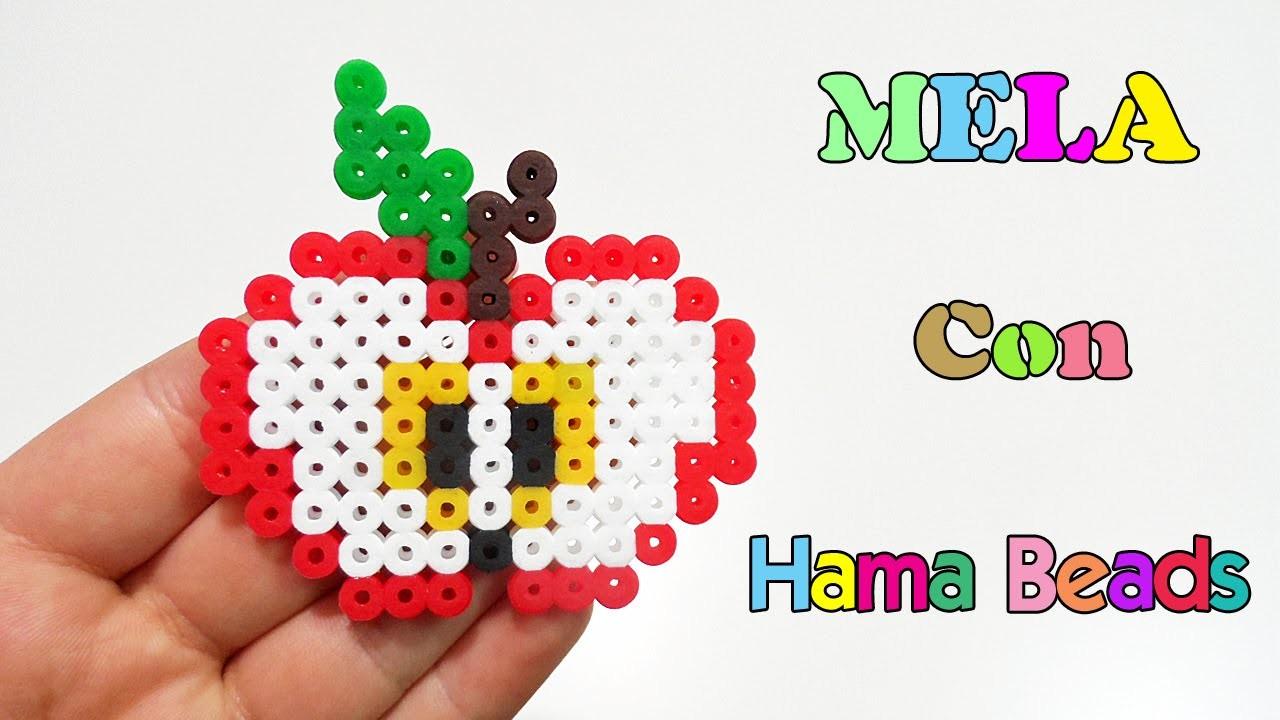✿ Charm Mela con Pyssla - Hama Beads. Apple Perler Beads Tutorial✿