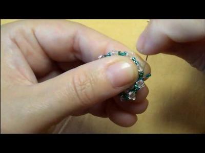 Earring green&white   tutorial