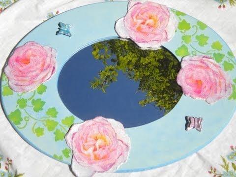 Tutorial: Decoupage su specchio in MDF con rose in rilievo e farfalle in pasta Oplà