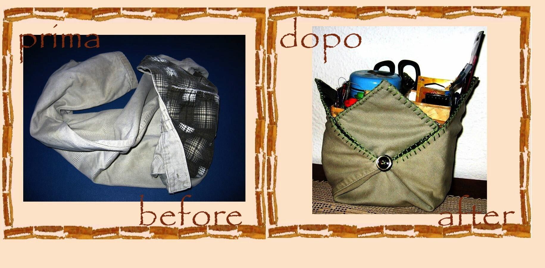 Riciclo creativo vecchi abiti: pochette origami di stoffa -tutorial-