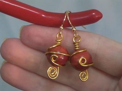 Orecchini Wire con Madrepora rossa | Perline per Principianti - HobbyPerline.com