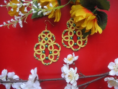 "29' TUTORIAL ORECCHINI ""MIMOSA"" CHIACCHIERINO AD AGO EARRINGS NEEDLE TATTING"