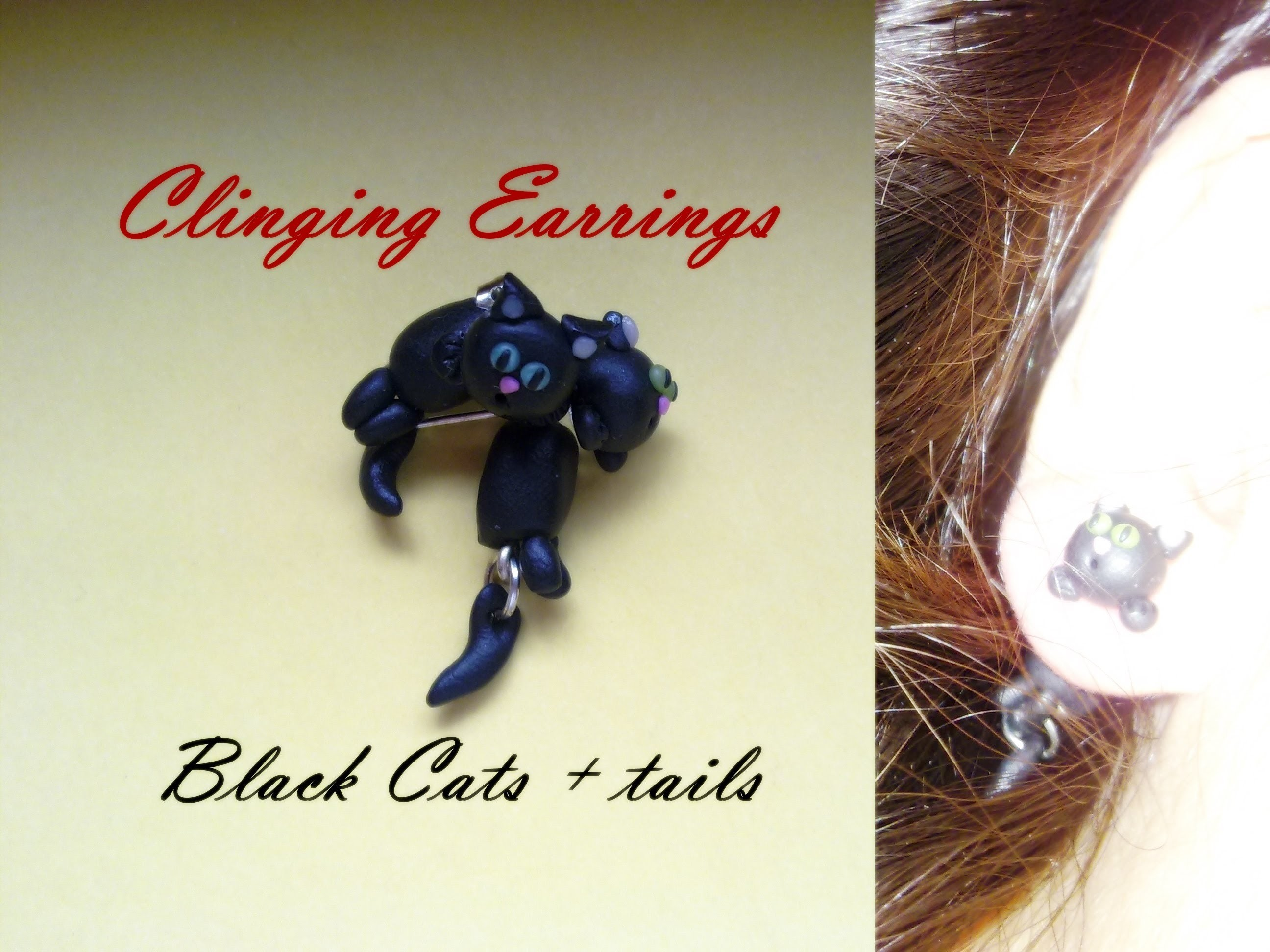 DIY Clinging Earrings: Black Cats + tails ☀ Gatti Neri - Polymer Clay Tutorial