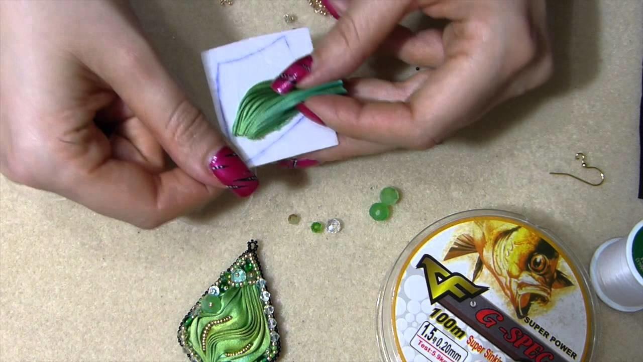 DIY orecchino o ciondolo con seta shibori ribbon tutorial fai da te embroidery parte 1
