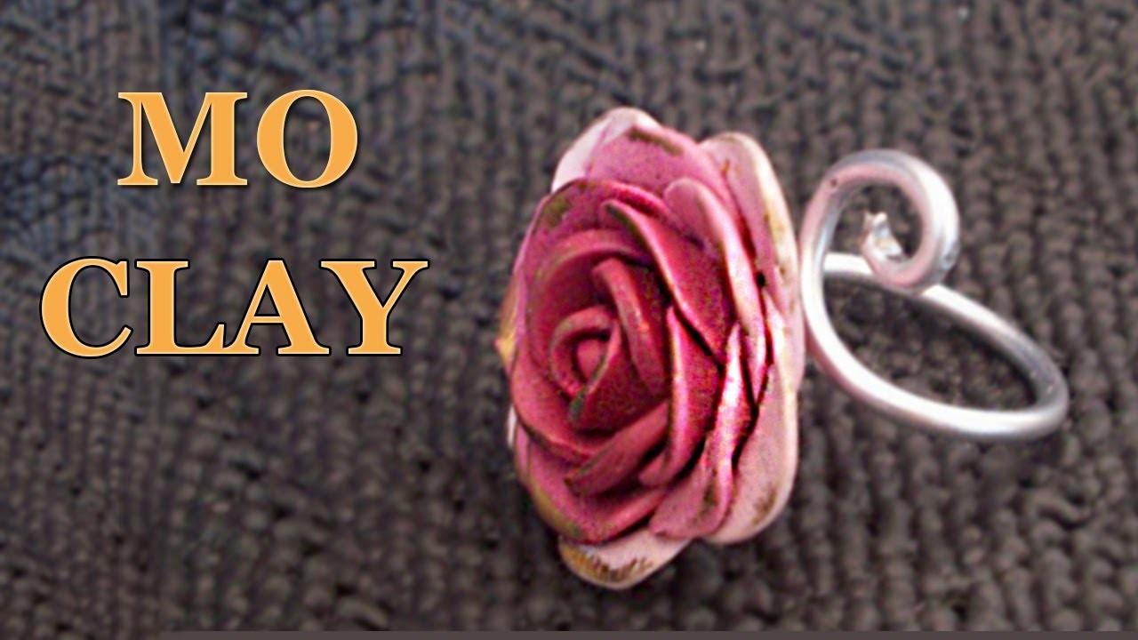 DIY polymer clay rose ring - Anello Rosa in pasta sintetica - Anillo Arcillas poliméricas