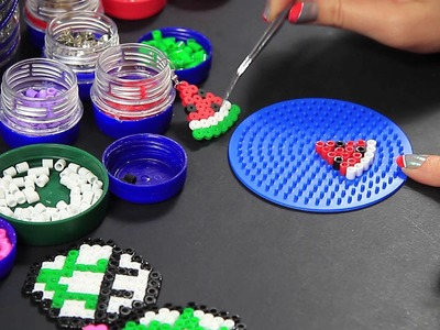 Hama Beads Pyssla - Orecchini Anguria - earrings watermelon - Video Tutorial -