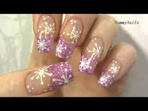 Rosa Icy Snowflake design con Holographic Glitter Nail Art Tutorial