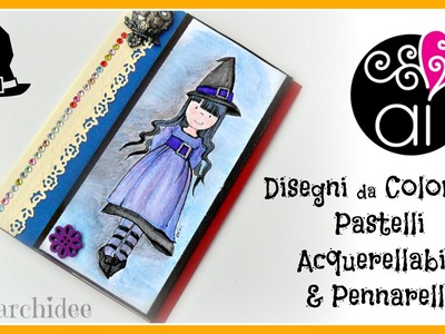 Scrapbooking Tutorial | Colorare disegni con pastelli acquerellabili e pennarelli | DIY Drawings
