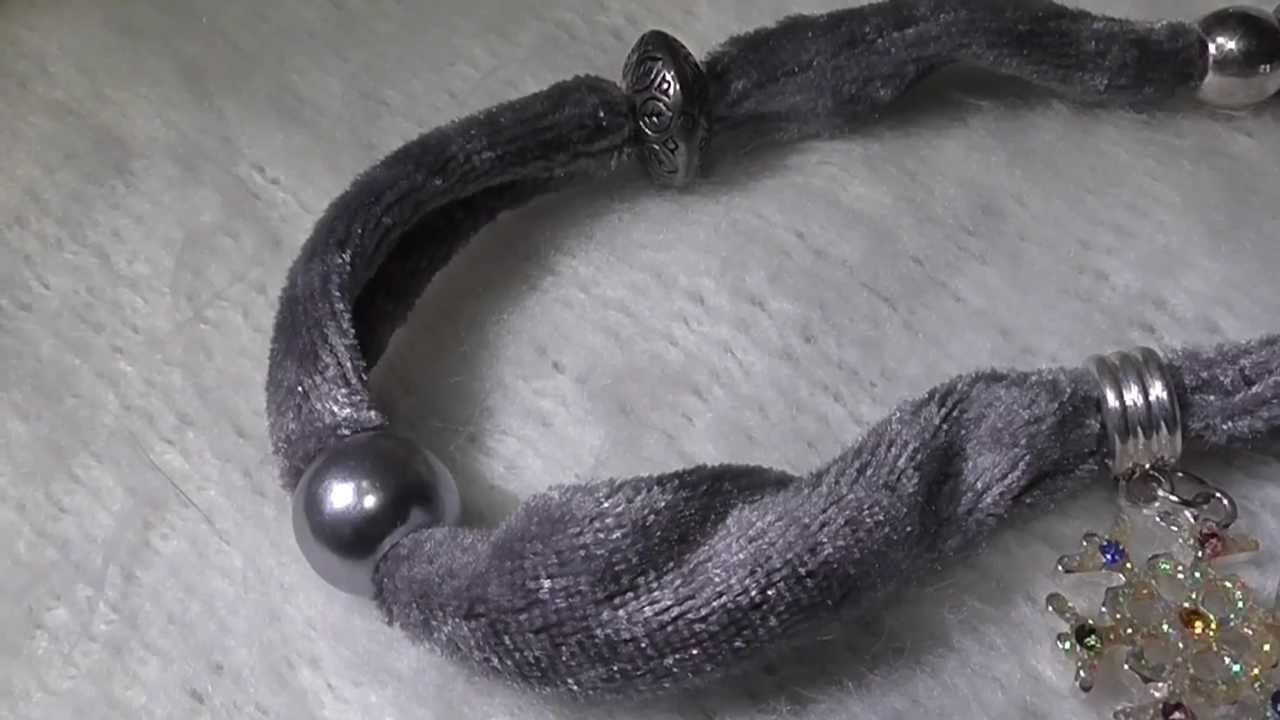 Shiny Beads.  and more - 1.4 - Gray velvet bracelet