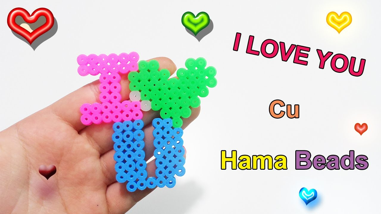 "♥Tutorial Charm I Love You con Pyssla ""Hama Beads""♥"