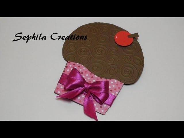 Tutorial: Cupcake card (cardmaking scrapbooking tutorial) [sub-eng]