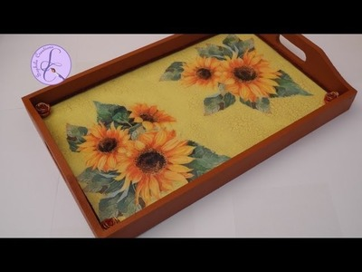 Tutorial: Decoupage, cracklè e vetrificazione su vassoio di legno (decoupage on wooden tray)