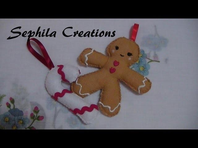 Tutorial: Gingerbread e candy in tessuto e pannolenci (christmas decorations)