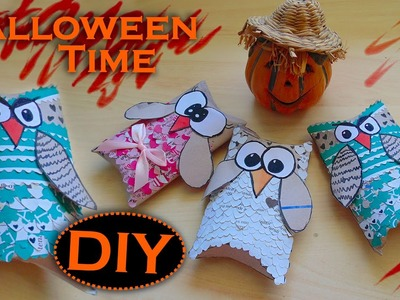 Tutorial Halloween: Gufetti porta Caramelle e Decorazioni - ✂ - DIY Halloween Candy Boxes Owls