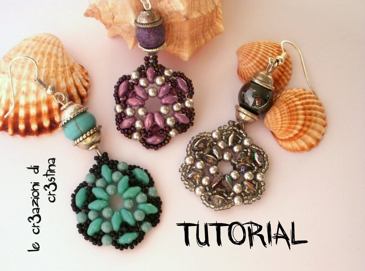 Tutorial Orecchini TANTI AUGURI Superduo.Twin beads, Perle, Bicono Swarovski 3 mm, Rocailles (1.2)