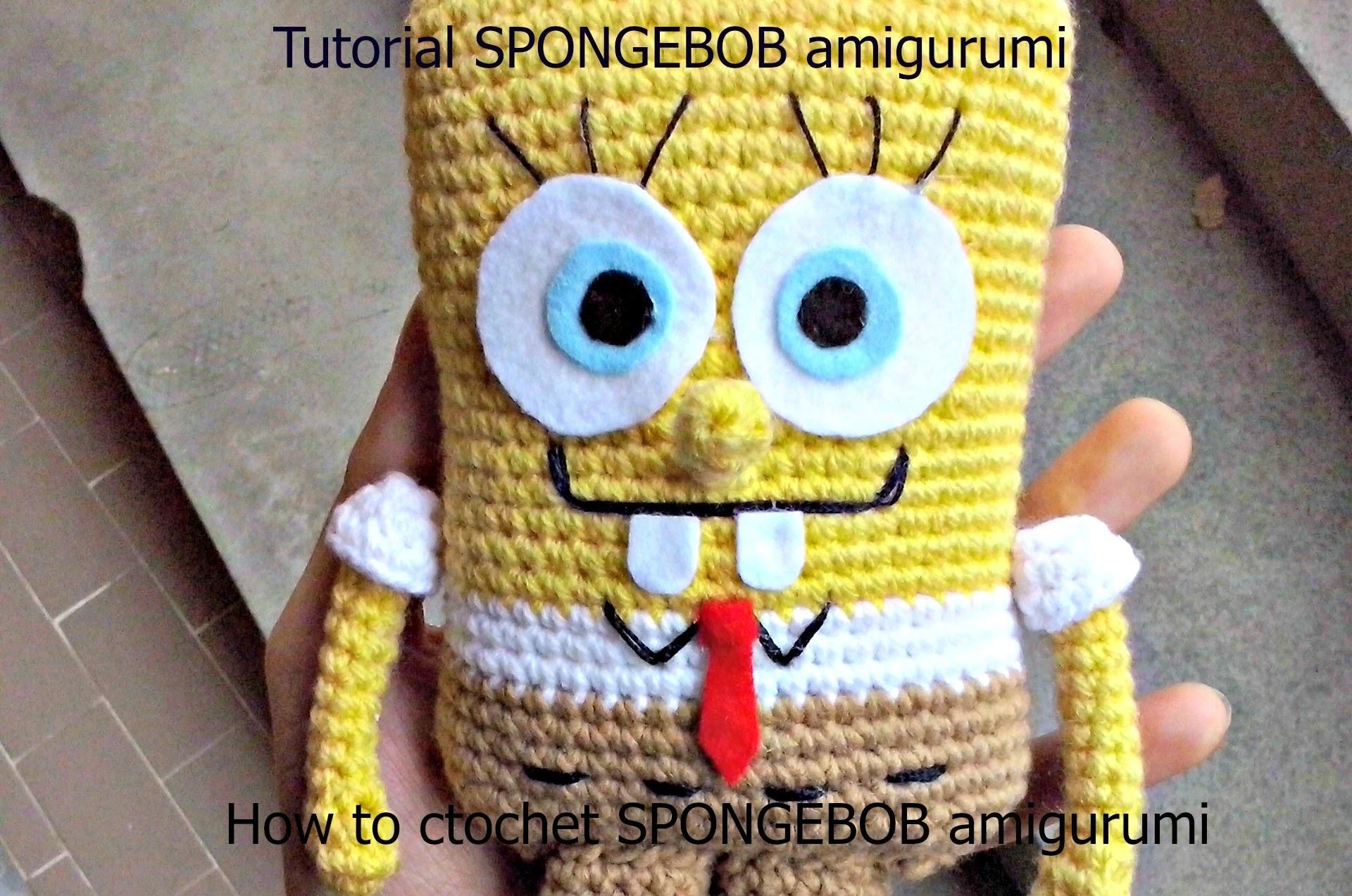 Tutorial SPONGEBOB amigurumi | HOW TO CROCHET SPONGEBOB AMIGURUMI - Part 1 - SubENG