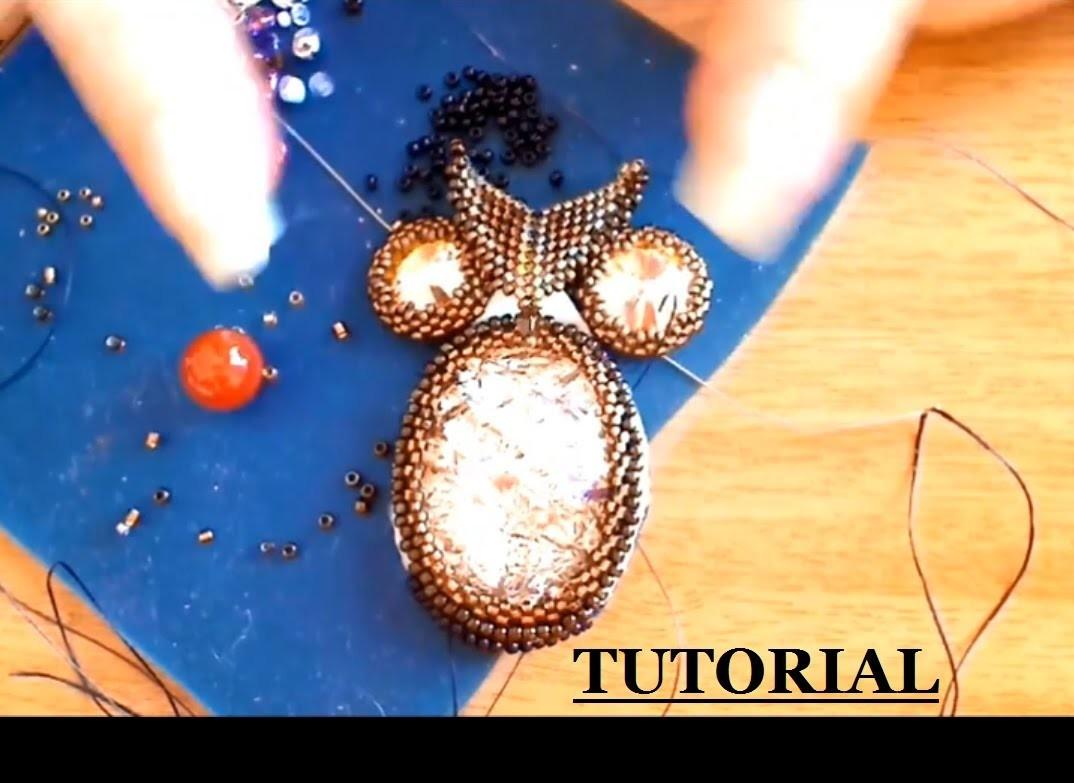 DIY tutorial gufo perline embroidery con rivoli swarovski e cabochon in resina delica