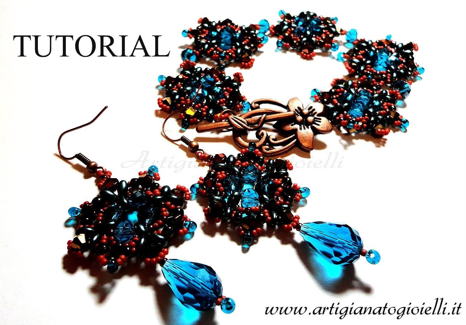 DIY Tutorial orecchini e bracciali - perline e twin beads cristalli - Ishtar