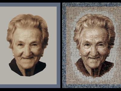 Portrait. Mosaic art (made in Italy). Ritratto realizzato a mosaico