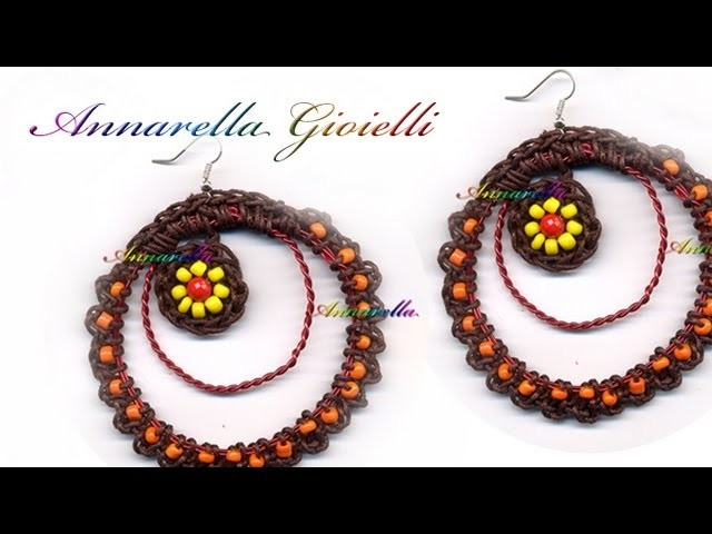 Tutorial - Orecchini uncinetto con perline e cotone cerato ( DIY crochet earrings )