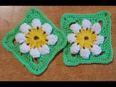 """Tutorial piastrella all'uncinetto """"primavera""""azulejo crochet - square tile crochet"""