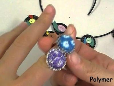 Ciondoli Bottoncini e anelli Millefiori cane ( creazioni fimo. polymer clay creations)